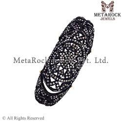 Knuckle Pave Diamond Black Rhodium Rings