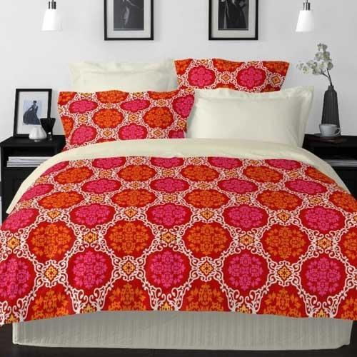 Welhome By Welspun La Piazza 1 Cotton Red Double Bedsheet
