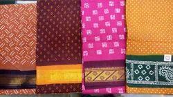 Casual Wear Red Rani Sungadi Cotton Wax Print Saree, With Blouse Piece, 5.5 m (separate blouse piece)
