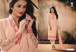 Peach Embroidered Fancy Salwar suit