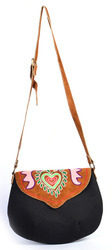 Handmade Canvas Leather Embroidery Flap College Bag