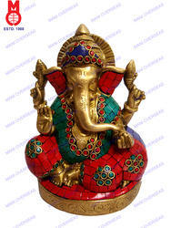 Lord Ganesh Sitting W/Pillow & Stone Work Statue
