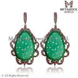Green Onyx Carving Pave Diamond Designer Earrings