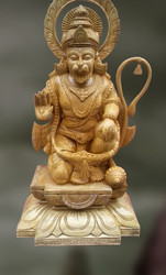 Wood Sculpture Of Hanuman (bhaktavatsala)