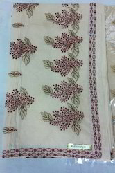 Plain Cotton With Embroidery Work Saree