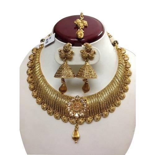 New Necklace Earring Set Gold Polki Jewellery Indian: Traditional Polki Gold Necklace Set