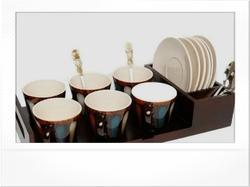 Cup Holder Tray with Out Tea Set