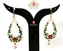 White Meena Earrings with Drop Shape