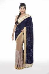 Sythetic Designer Saree with Blouse Piece, Saree Length: 6.3 m