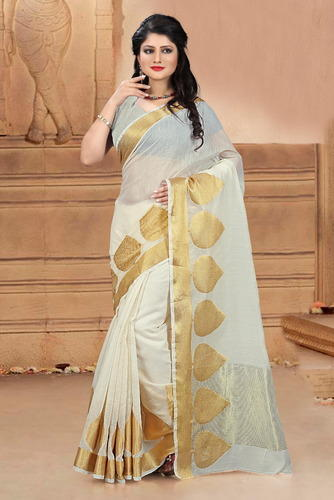 aa0dc06847 Cotton Silk White Coloured Rapier Jacquard Zari Work Party Wear Saree