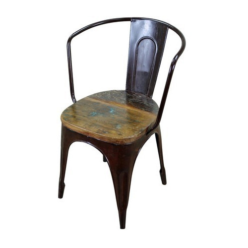 Powder Coated Black Industrial Reclaimed Wooden Top Metal Chair, For Modern, Size: 45 X 46 X 75
