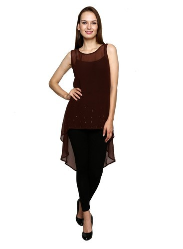 Brown Georgette Design Sutra Indo Western Dress