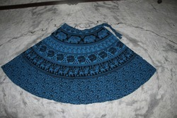 Blue Dyed Ladies Wrap Skirt