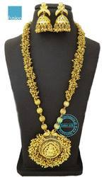Traditional South Indian Long Beaded Temple Necklace Set
