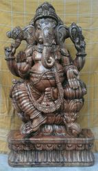 Wooden Lord Ganesha 36 Inches