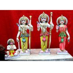 White Hindu Ram Darbar Marble Statue, for Worship