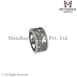 Silver Prong Setting Diamond Mix Gemstone Ring