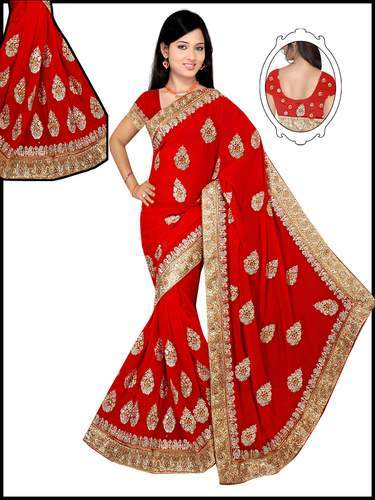 8e073a1e0d Georgette Embroidered Classic Diamond Stone Work Saree, With Blouse Piece