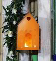 Craftkriti Orange Hut Shaped Metal Bird House