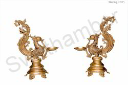 Brass Statue Peacock Oil Lamp Diya Handmade Pooja