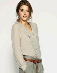 Gray Shirt Tunic Top