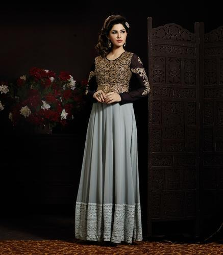 5acad3b68f Embroidered Long Style Anarkali Suit, एम्ब्रॉयडर्ड ...