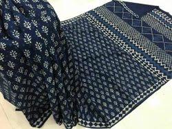 Casual Wear Printed Indigo Dabu Print Cotton Saree, 5.2 M (separate Blouse Piece)