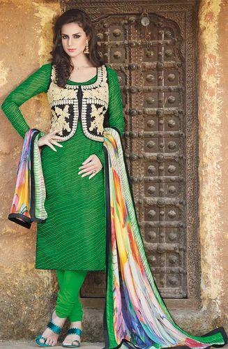 Green Short Jacket Cotton Silk Unstitched Salwar Suit