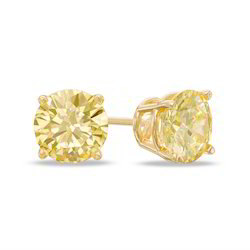Yellow Solitaire Diamond Studs