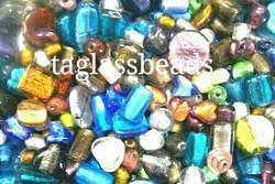 Mix Silver Foil Big Hole Glass Beads