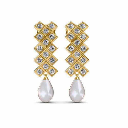 298467436 Real Diamonds Long Diamond Earrings, Packaging Type: Box, Rs 43854 ...