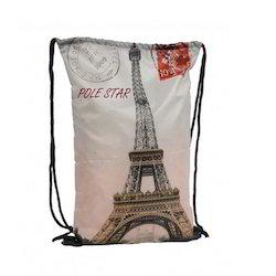 Eiffel Printed Drawstring Bags