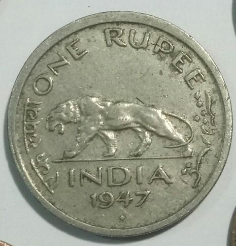 Old Indian Rare British India 1rupee Coin 1947 Bombay Mint