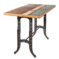 Natural Rectangular Industrial Vintage Cast Iron Base With Reclaimed Wood Dining Table, Country Of Origin: India