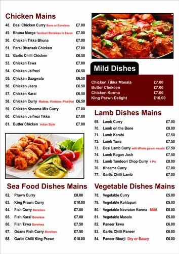 Restaurant Menu Card Printing Services In Kadodara Surat