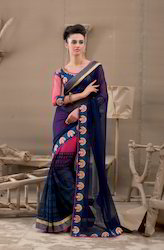 Navy Blue Printed Saree
