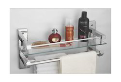 Wall Mounted Ciplaplast Glass Shelf with Double Towel Holder, Size: 25x51.5x16 Cm