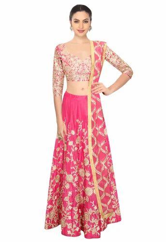 baa3f1a156 Fabron Pink Dori Work Raw Silk Lehenga Choli & Dupatta Set at Rs ...