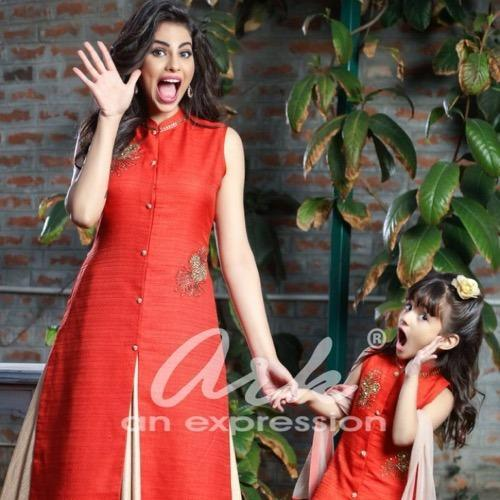 Kurti Skirt Set Mother Daughter Concept