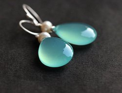 Aqua Blue Cabochon Earring