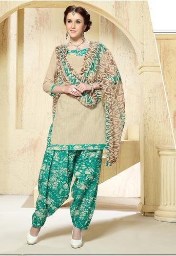 A-Line Chiffon Casual Patiala Punjabi Dress
