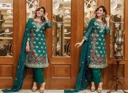 Chiffon Fancy Embroidery Work Pakistani Dress, Machine wash