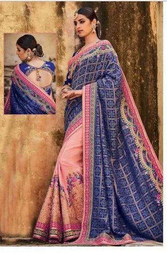 ca9773af1380c2 Blue And Light Pink Saree