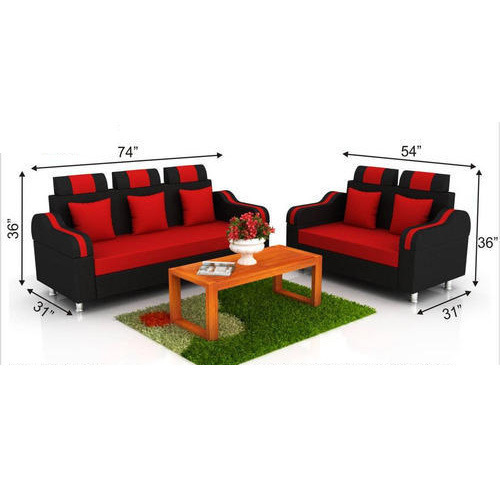 Attirant Royal Black And Red Sofa Set