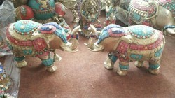 Elephant Pair Statues with Stone Work