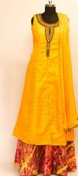 Yellow Colour Raw Silk Long Ladies Top And Multi Colour Skirt
