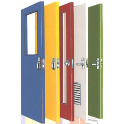 Swing Color Coated Fire Resistant Steel Doors, Thickness: 46mm