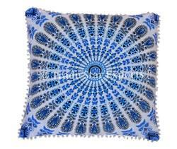 Indian Ethnic Peacock Feather Pom Pom Cushion Cover