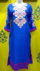 Rayon Blue Embroidered Kurti