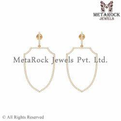 Handmade 14k Yellow Gold Diamond Earring Jewelry